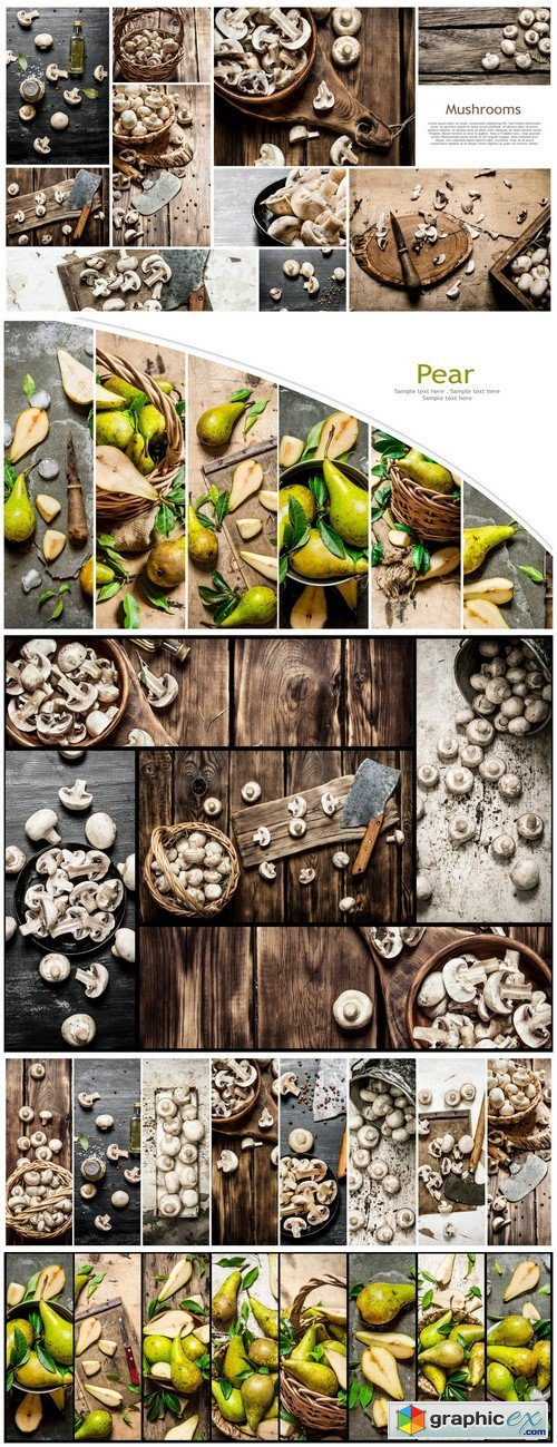 Food collage of mushrooms and fresh pears #9 5X JPEG