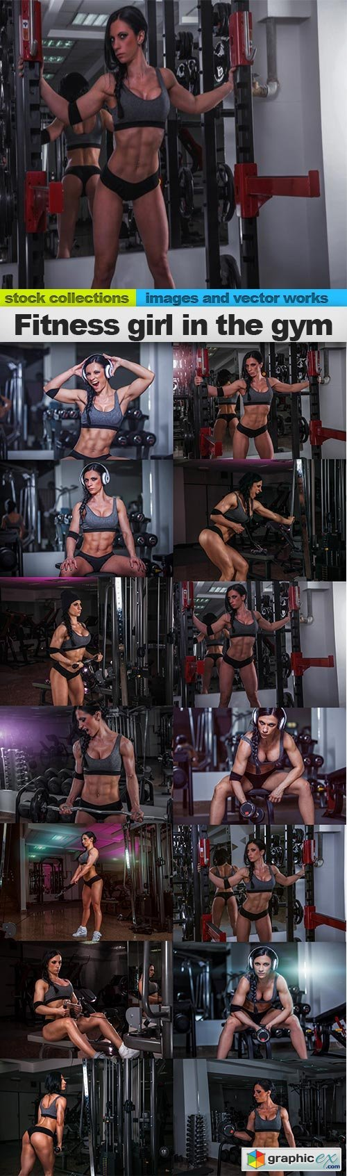 Fitness girl in the gym, 14 x UHQ JPEG