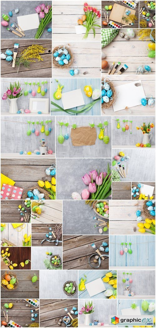 Colorful easter eggs, tulips and card 36X JPEG