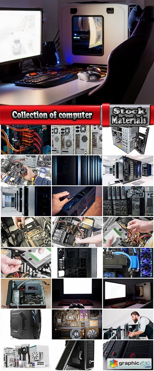 Collection of computer case Hardware spare tech microchip technology office 25 HQ Jpeg