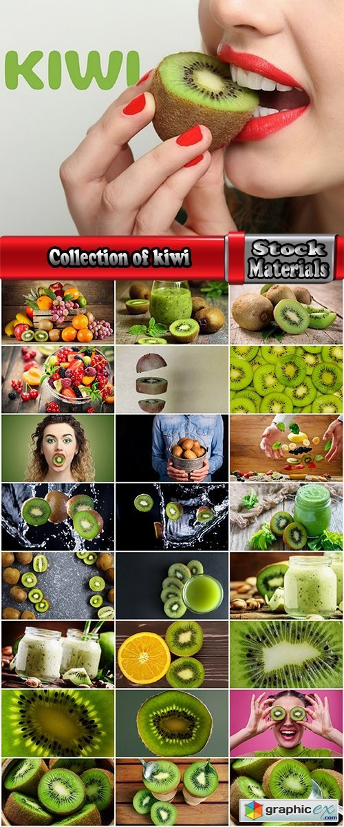 Collection of kiwi juice macro pulp seed set of fruits basket 25 HQ Jpeg