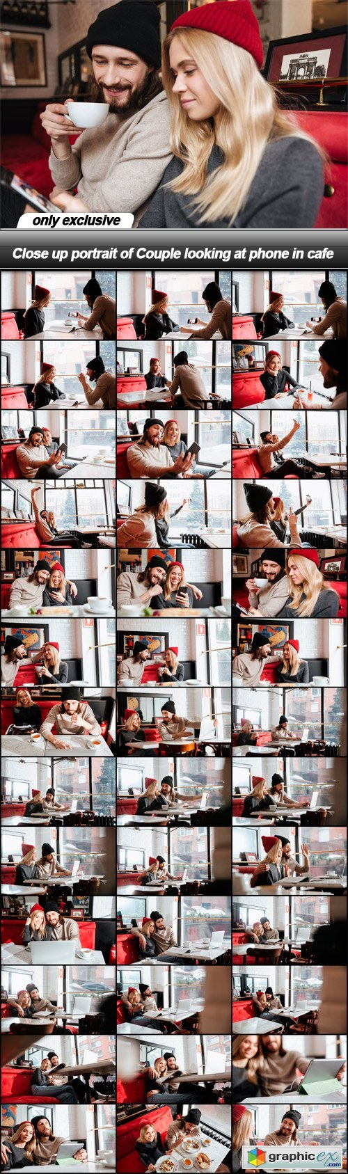 Close up portrait of Couple looking at phone in cafe - 39 EPS