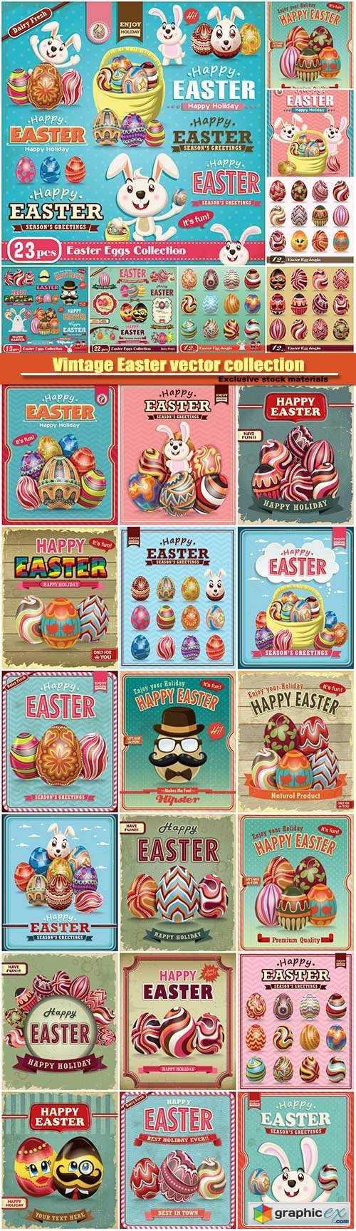 Vintage Easter vector collection
