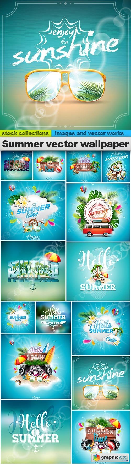 Summer vector wallpaper, 15 x EPS