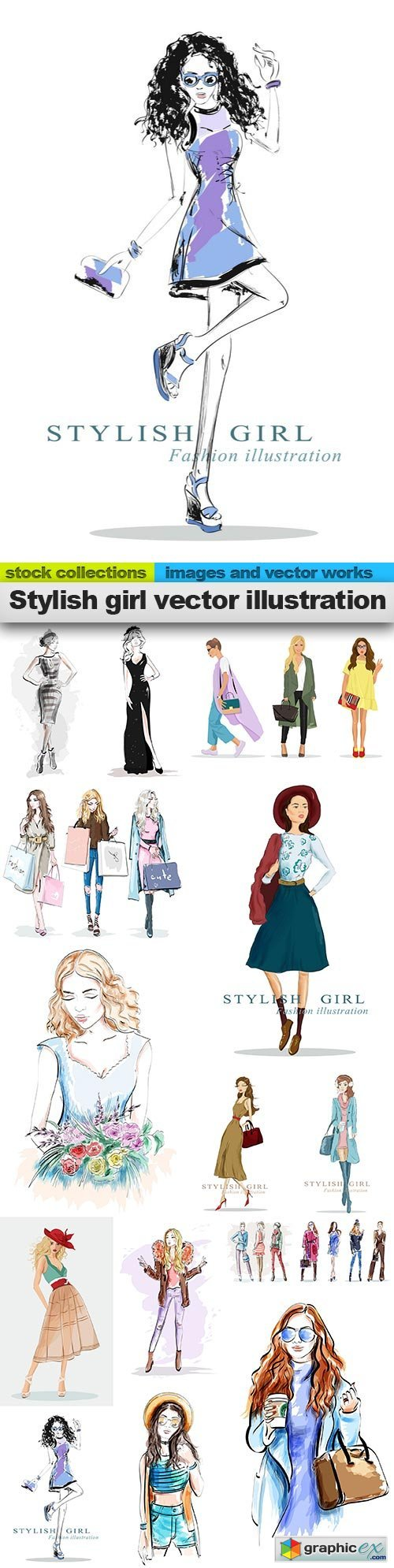 Stylish girl vector illustration, 15 x EPS