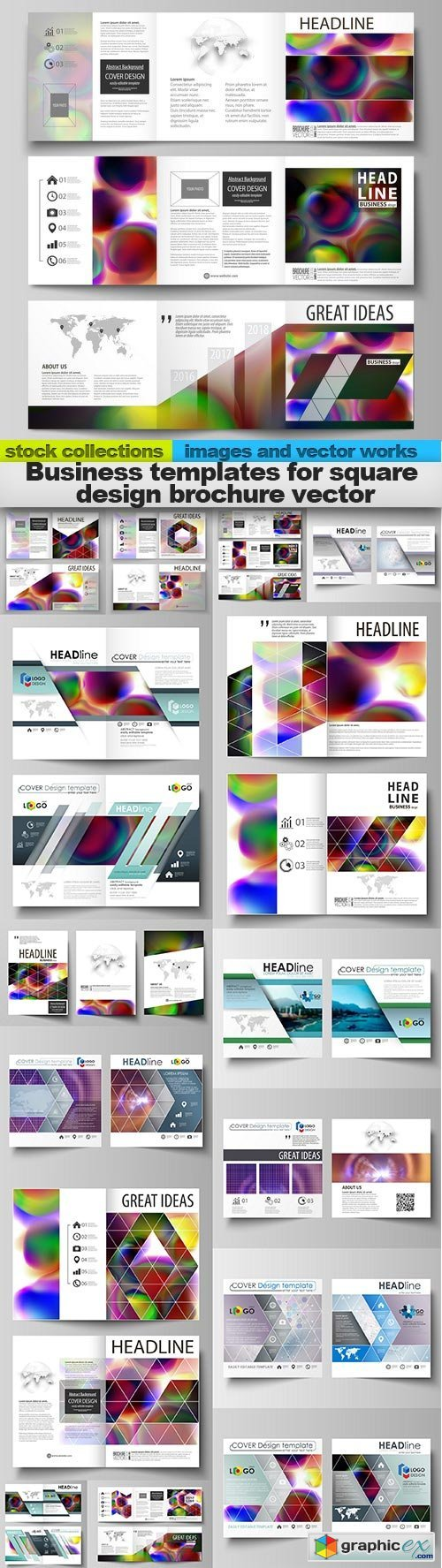 Business templates for square design brochure vector, 15 x EPS