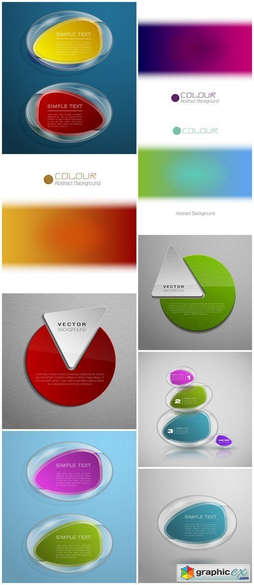 Colorful backgrounds abstract 9X EPS