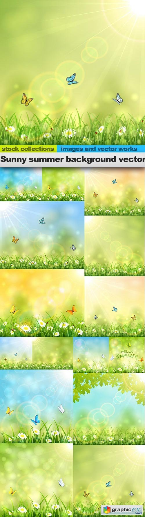 Sunny summer background vector, 15 x EPS