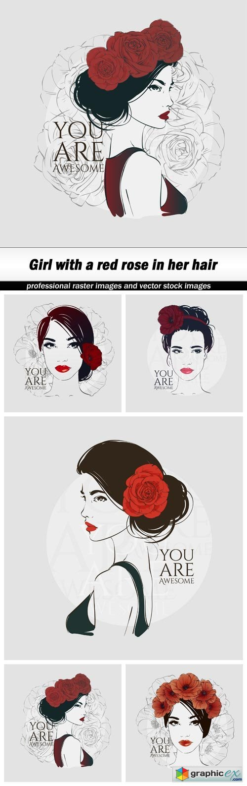 Girl with a red rose in her hair - 5 EPS
