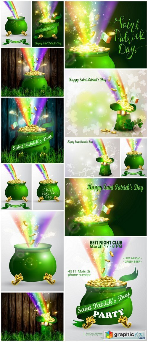 St. Patrick Day symbol green pot full of gold coins and rainbow 14X EPS