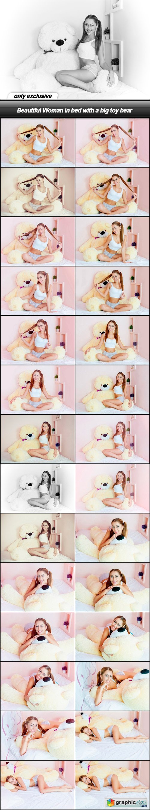 Beautiful Woman in bed with a big toy bear - 28 UHQ JPEG
