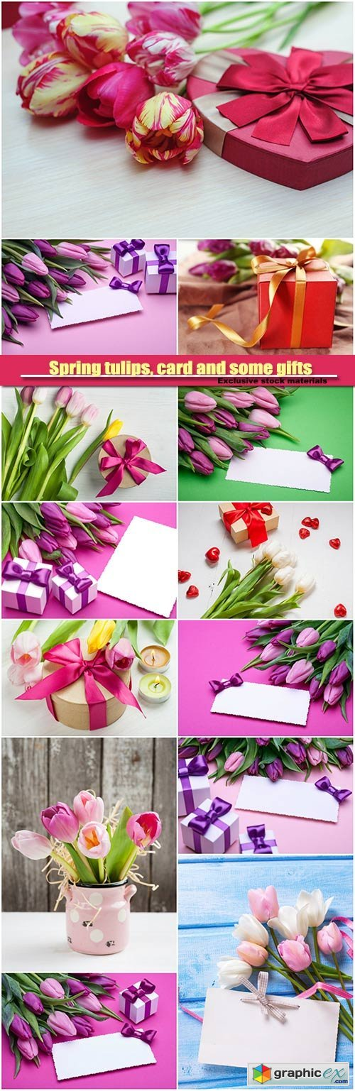 Spring tulips, card and some gifts