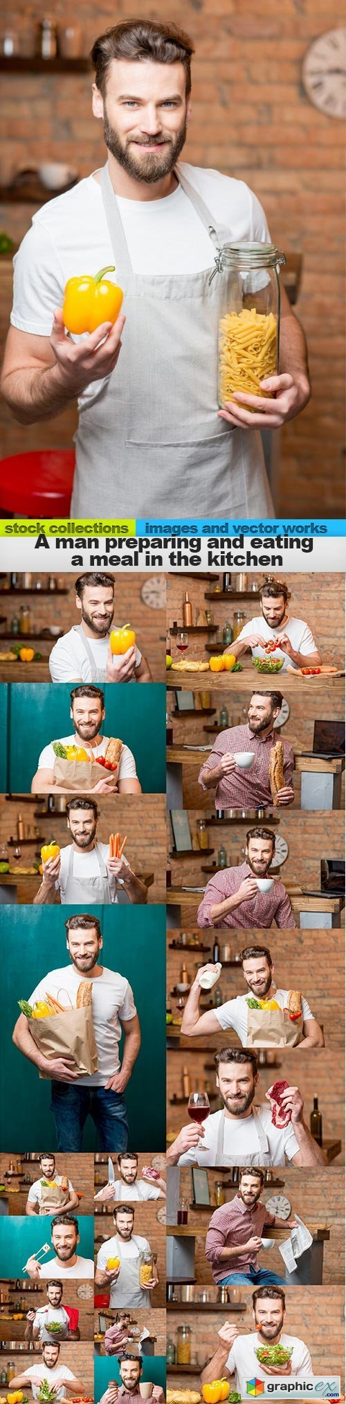 A man preparing and eating a meal in the kitchen, 19 x UHQ JPEG