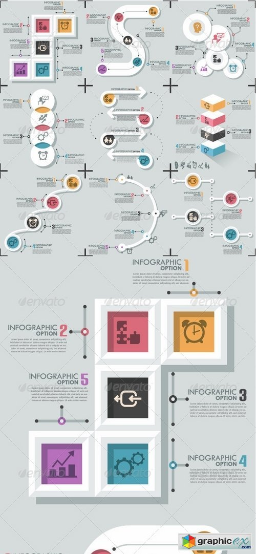 Set Of 9 Flat Infographic Options Templates 8182281