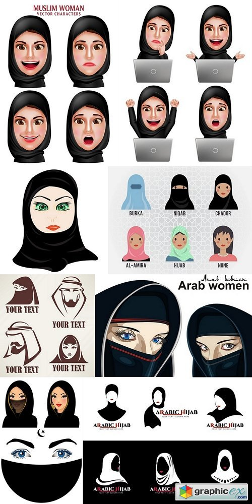 Cartoon cute Woman Islamic head covering vector design