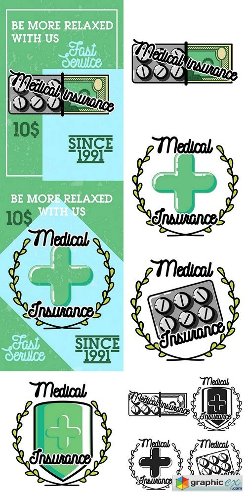 Color vintage medical insurance banner