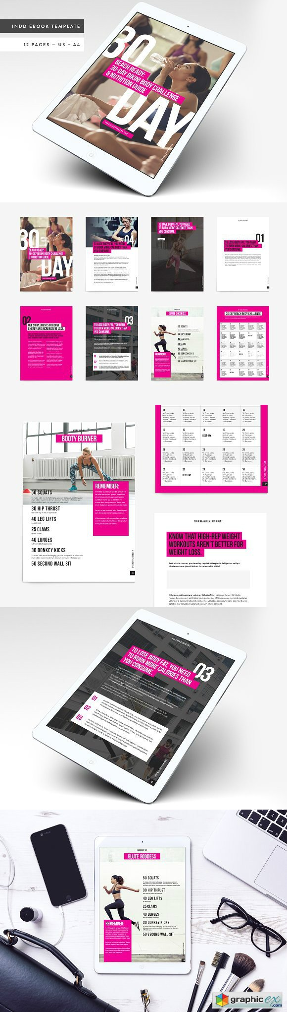 Fitness Bold Ebook Template Free Download Vector Stock Image