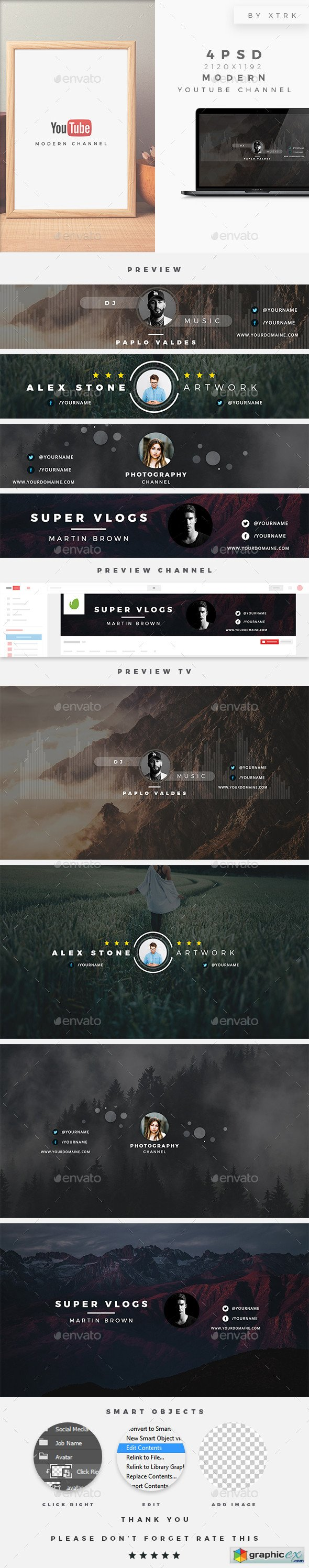 Modern Youtube Channel » Free Download Vector Stock Image