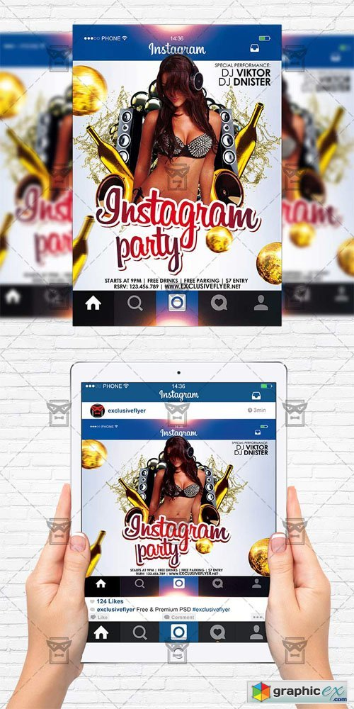 Instagram Party - Flyer Template+Instagram Size Flyer
