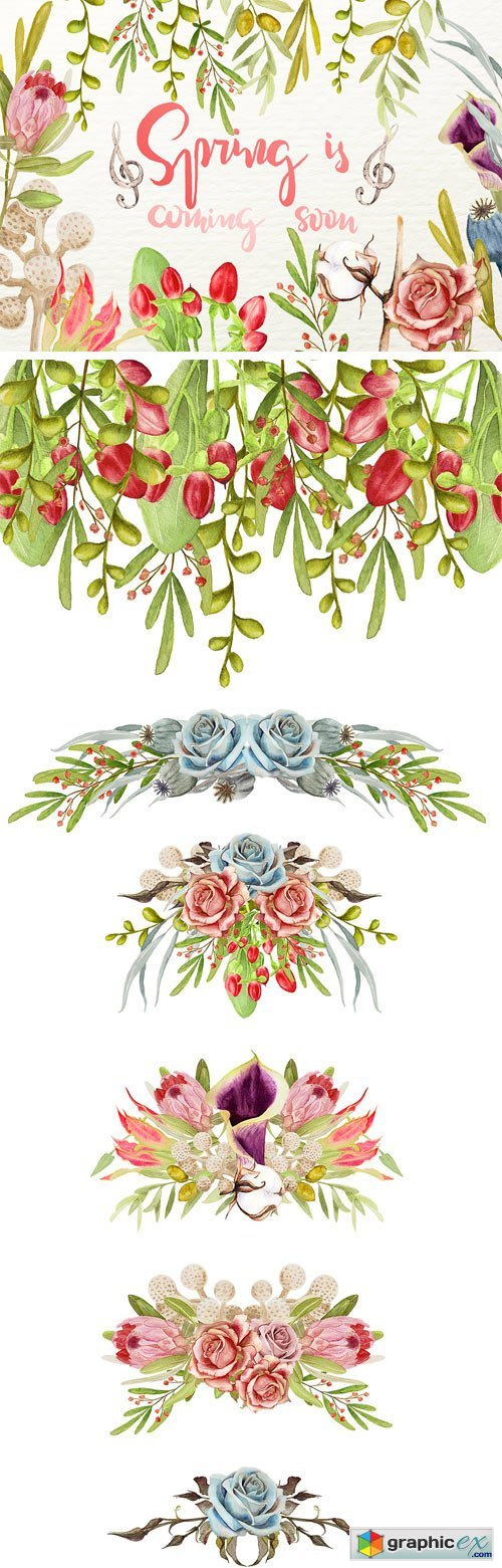 Watercolor Floral Cliparts