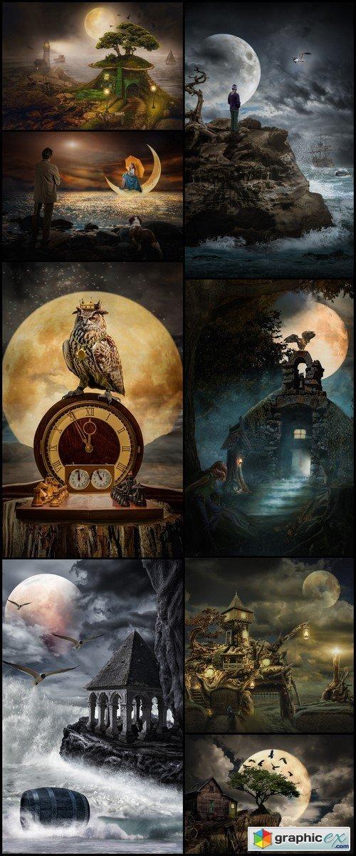 Fantastic castle, full moon 8X JPEG