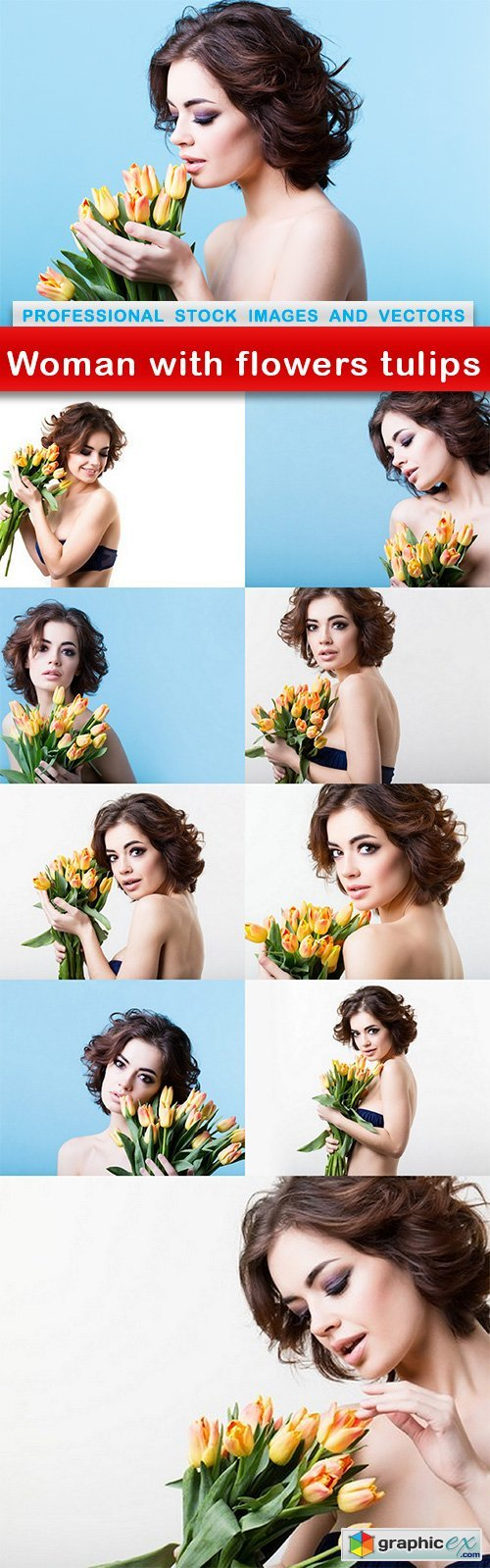 Woman with flowers tulips - 10 UHQ JPEG
