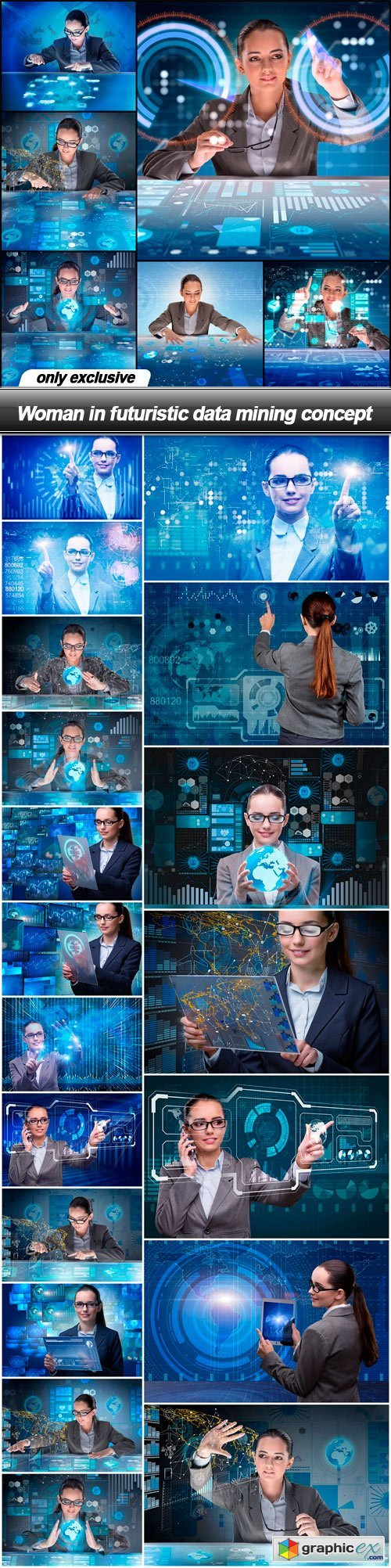 Woman in futuristic data mining concept - 25 UHQ JPEG