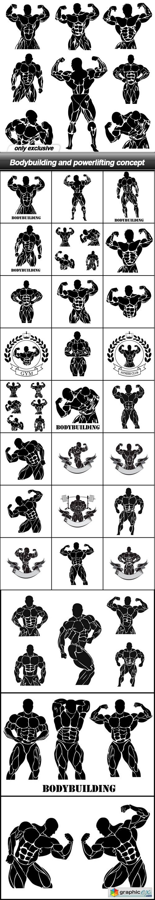 Bodybuilding and powerlifting concept - 28 EPS