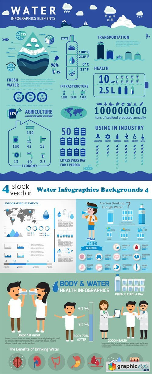 Water Infographics Backgrounds 4
