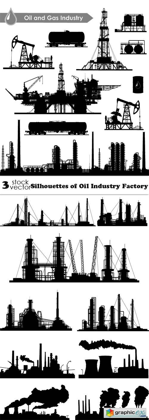 Silhouettes of Oil Industry Factory