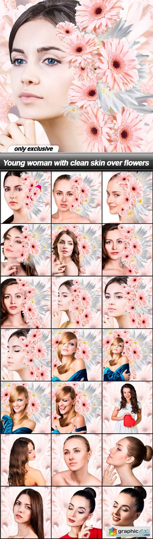 Young woman with clean skin over flowers - 21 UHQ JPEG