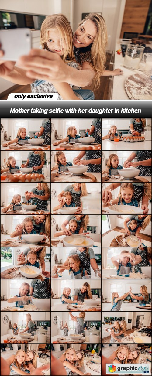 Mother taking selfie with her daughter in kitchen - 25 UHQ JPEG