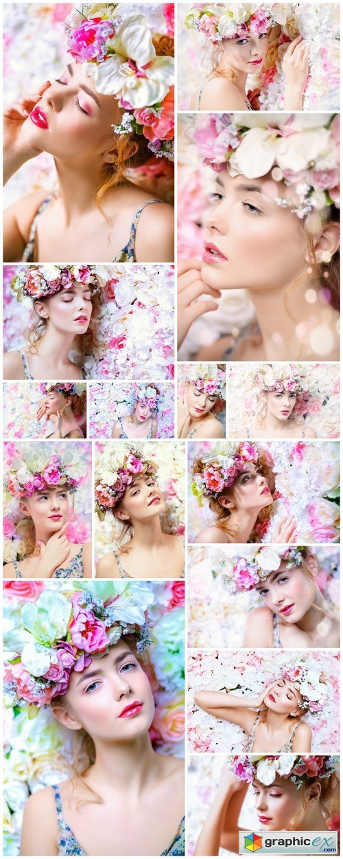 Beautiful young woman in a wreath of flowers roses15X JPEG