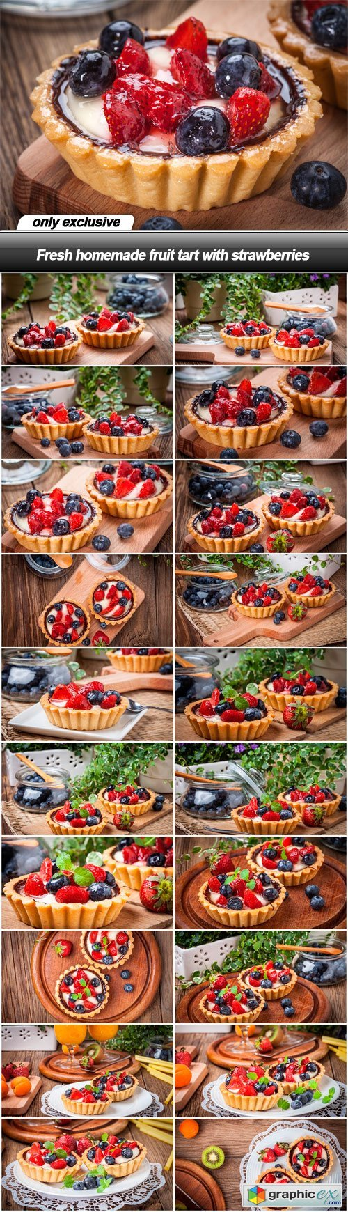 Fresh homemade fruit tart with strawberries - 21 UHQ JPEG