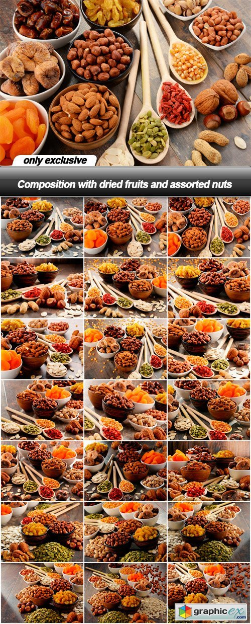 Composition with dried fruits and assorted nuts - 21 UHQ JPEG