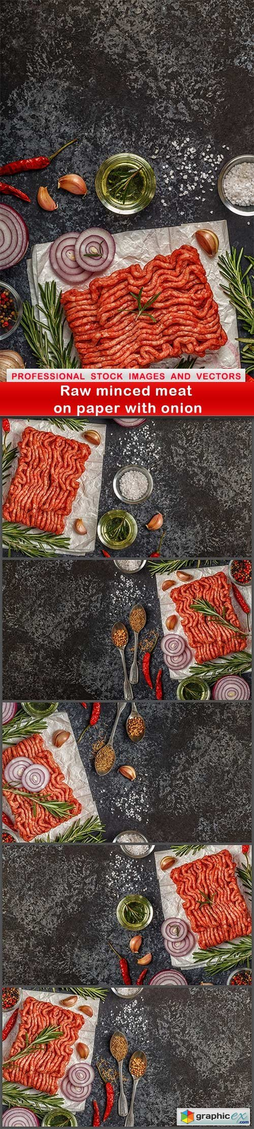 Raw minced meat on paper with onion - 6 UHQ JPEG