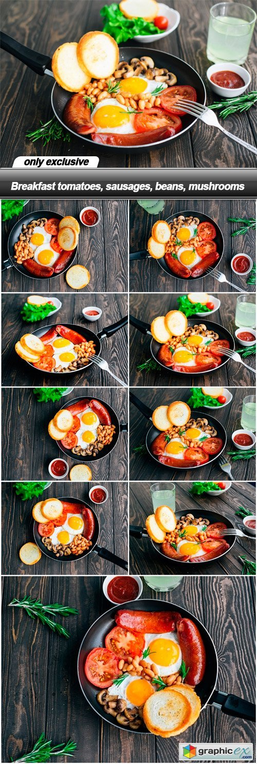 Breakfast tomatoes, sausages, beans, mushrooms - 9 UHQ JPEG