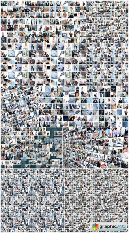 Large business collage with many persons 10X JPEG