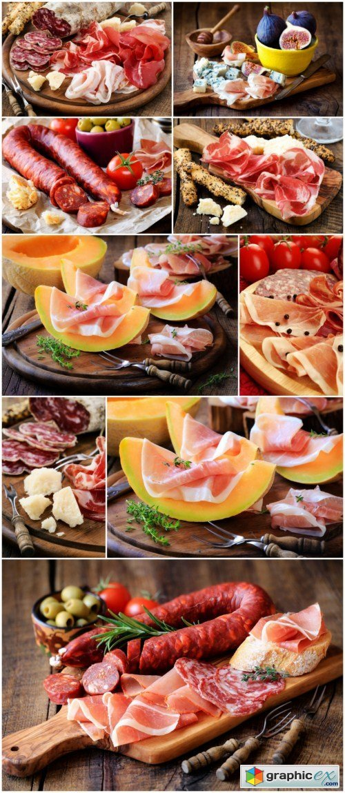 Italian prosciutto or coppa with breadsticks and parmes 9x JPEG