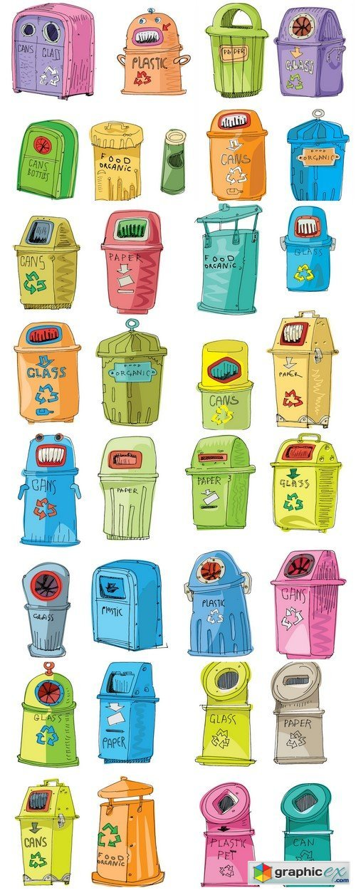 Litter bins for different waste 8X EPS