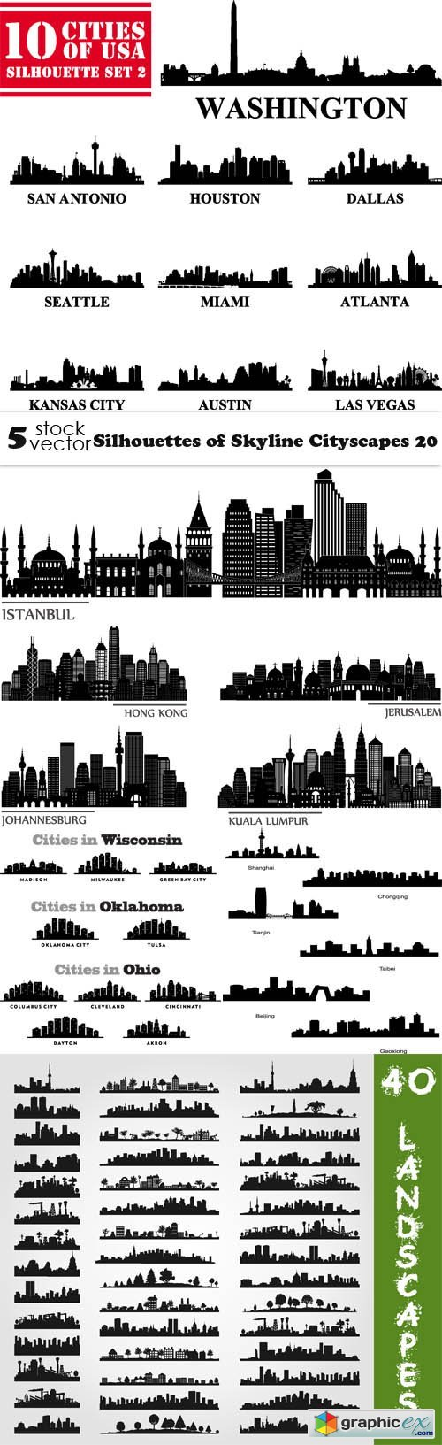 Silhouettes of Skyline Cityscapes 20