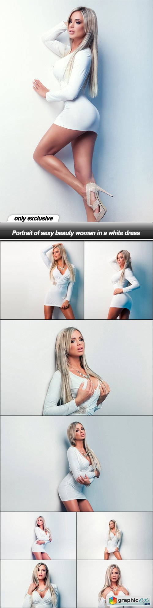 Portrait of sexy beauty woman in a white dress - 9 UHQ JPEG