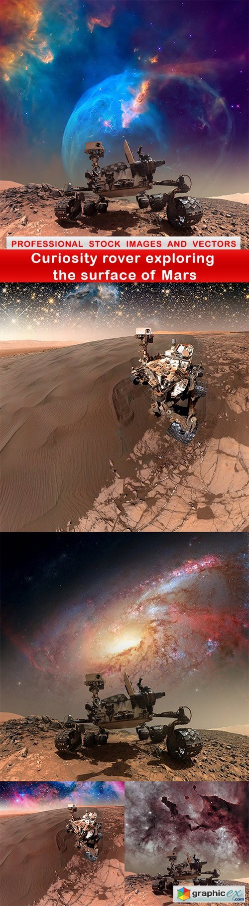 Curiosity rover exploring the surface of Mars - 5 UHQ JPEG