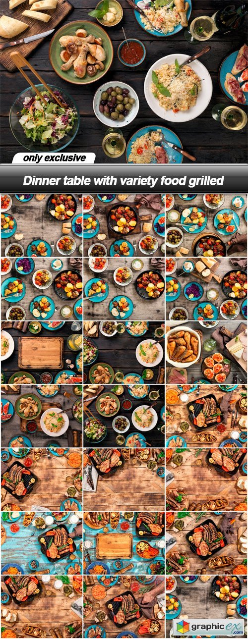 Dinner table with variety food grilled - 20 UHQ JPEG