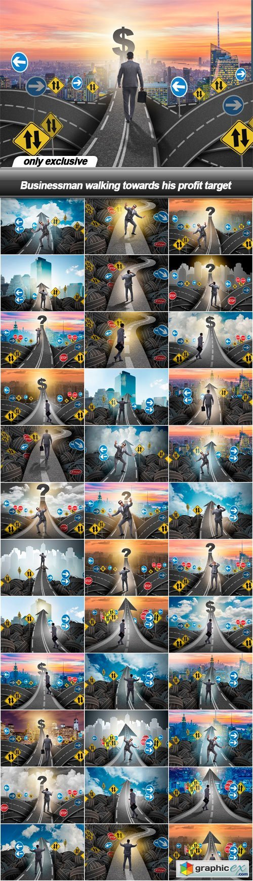 Businessman walking towards his profit target - 37 UHQ JPEG