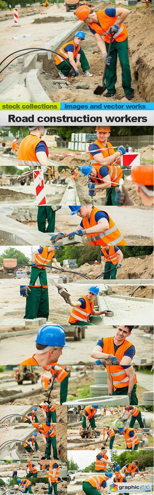 Road construction workers, 15 x UHQ JPEG