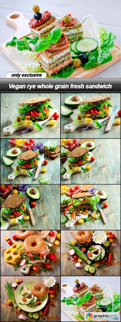 Vegan rye whole grain fresh sandwich - 10 UHQ JPEG