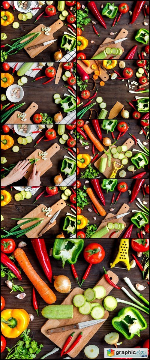 Ingredients for vegetable ragout on wooden background top view 9X JPEG