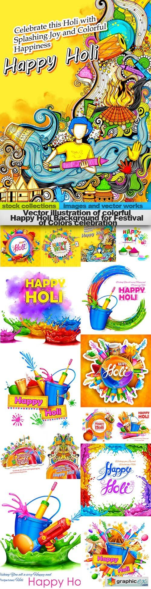 illustration of colorful Happy Holi Background for Festival of Colors celebration, 15 x EPS