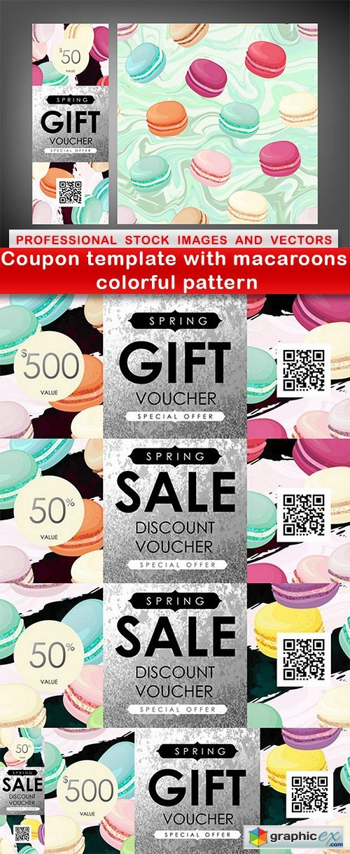Coupon template with macaroons colorful pattern - 6 EPS